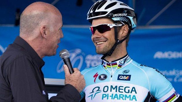 Belgický cyklista Tom Boonen poskytuje interview na závodu Kolem Kalifornie