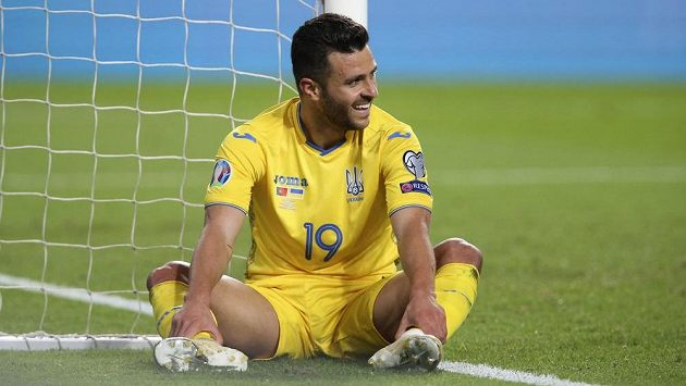 Junior Moraes v dresu Ukrajiny proti Portugalsku.