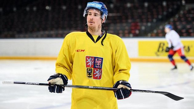 Roman Červenka na archivním snímku z tréninku hokejové reprezentace.