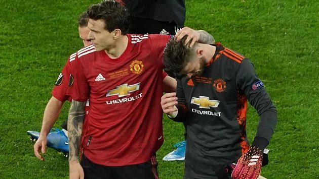 Brankář Manchesteru United David de Gea byl smutným hrdinou finále Evropské ligy. Neproměnil rozhodující penaltu a z trofeje se raduje španělský Villarreal.