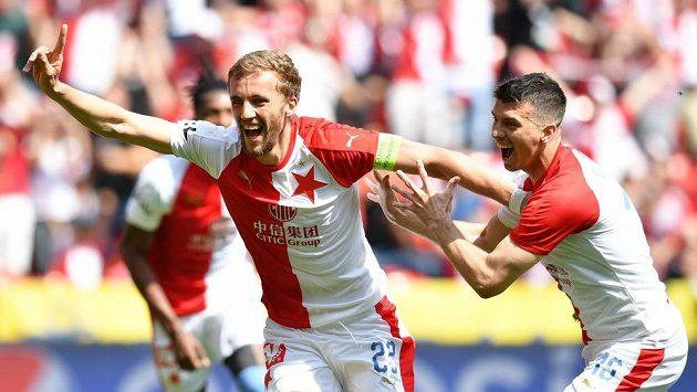 Slávista Tomáš Souček se raduje z úvodního gólu v derby se Spartou.