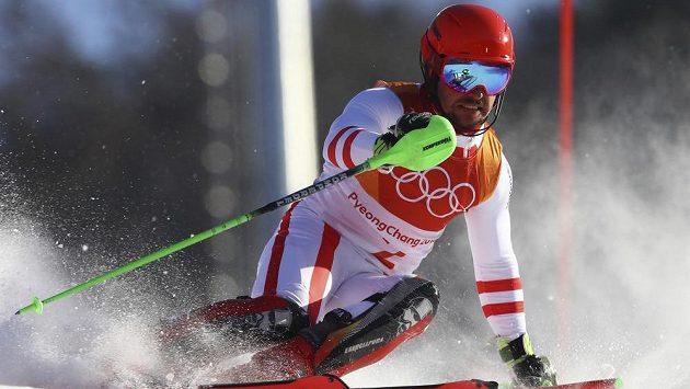 Marcel Hirscher z Rakouska při kombinačním slalomu.