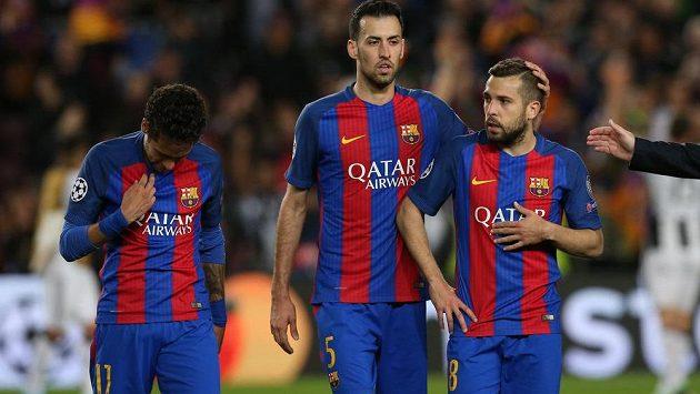 Barcelonské zklamání. Tým s Neymarem, Sergio Busquetsem a Jordi Albou nepřešel přes Juventus do semifinále Ligy mistrů.