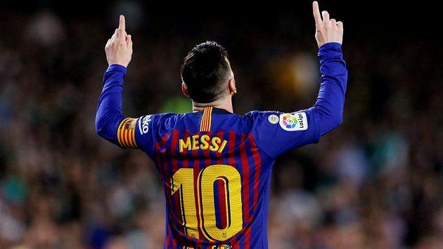 Tradiční oslava gólu v podání barcelonského Lea Messiho.