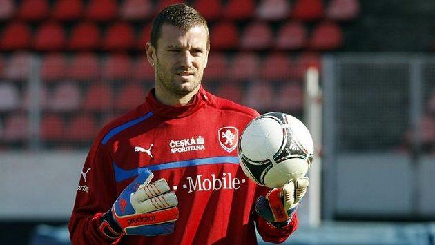 Jan Laštůvka na tréninku fotbalové reprezentace.