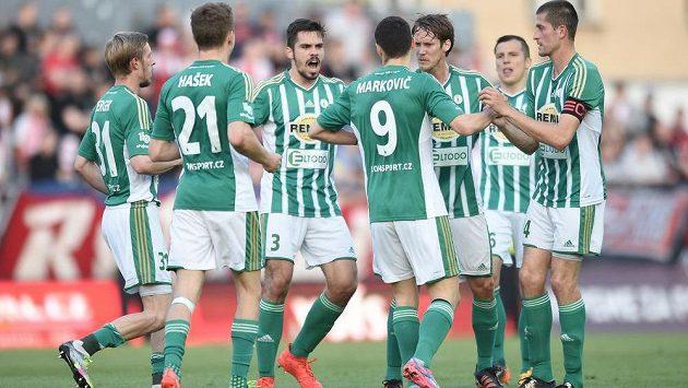 Radost fotbalistů Bohemians po vyrovnání ve vršovickém derby se Slavií, které se hrálo v 27. kole ePojištění ligy.