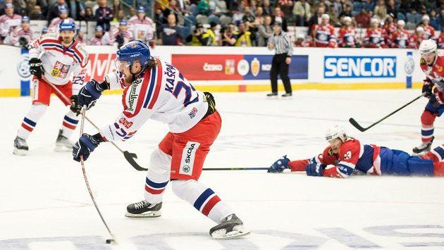 Lukáš Kašpar střílí svůj druhý gól v zápase proti Norsku - ilustrační foto.
