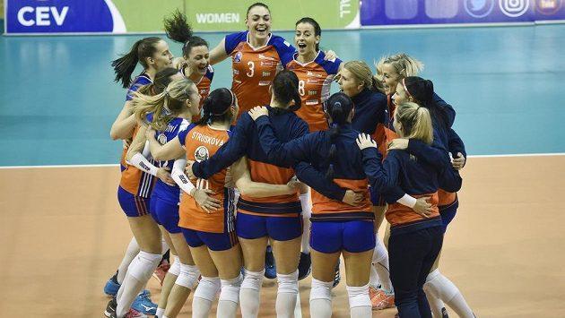 Hráčky Olomouce se radují z vítězství (ilustrační foto).