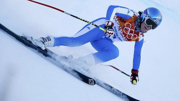 Italka Daniela Merighettiová při tréninku na olympijský sjezd, který byl kvůli ní na čas přerušen.