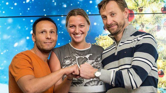 Tenistka Petra Kvitová, kondiční trenér David Vydra (vlevo) a trenér Jiří Vaněk.