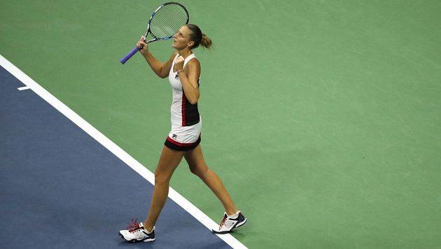 Karolína Plíšková po proměněném mečbolu v semifinále US Open.