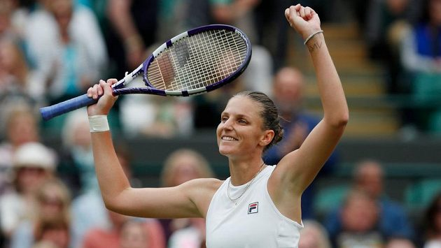 Radost Karolíny Plíšková po premiérovém postupu do semifinále Wimbledonu.