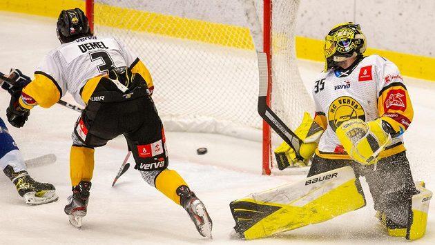 Patrik Demel z Litvínova (vlevo) a brankář Litvínova Denis Godla v utkání 27. kola hokejové extraligy.