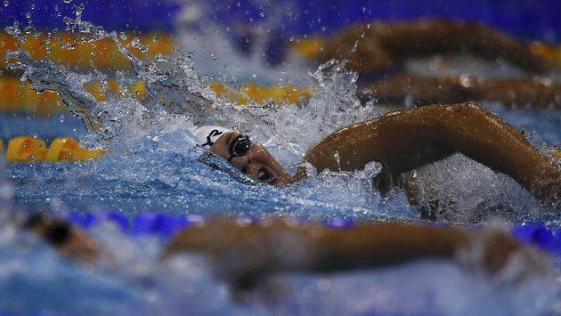 Dánka Friisová v závodě na 400 metrů volným způsobem na berlínském mistrovství Evropy.