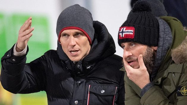 Bořek Dočkal (vlevo) a David Bičík během pondělního utkání na Julisce.