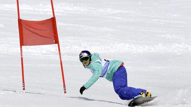 Olympijská vítězka ve snowboardkrosu Eva Samková se v Rokytnici nad Jizerou zúčastnila exhibičního obřího slalomu RWE KSN Cupu.