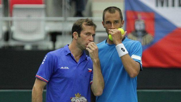 Radek Štěpánek (vlevo) si zahraje čtyřhru na olympiádě v Riu s Lukášem Rosolem.