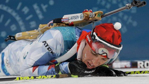 Michal Krčmář v cíli a totální vyčerpání po sprintu na olympiádě.