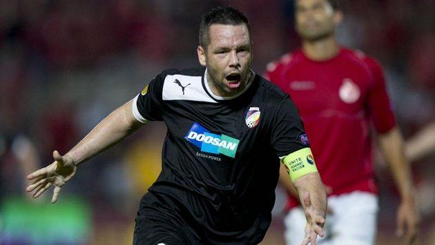 Pavel Horváth se raduje z gólu na hřišti Hapoelu Tel Aviv. Brankou v nastavení první půle nastartoval obrat Plzně.