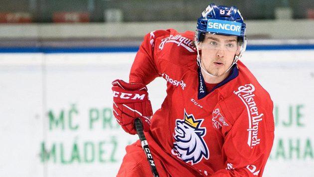 Michal Kovařčík během tréninku hokejové reprezentace.