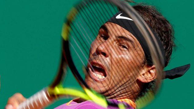Rafael Nadal ze Španělska při utkání s Belgičanem Davidem Goffinem.