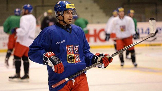Útočník Tomáš Rolinek během tréninku hokejové reprezentace před Českými hokejovými hrami.