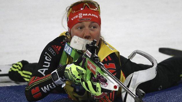 Němka Laura Dahlmeierová při sprintu v Pchjongčchangu.