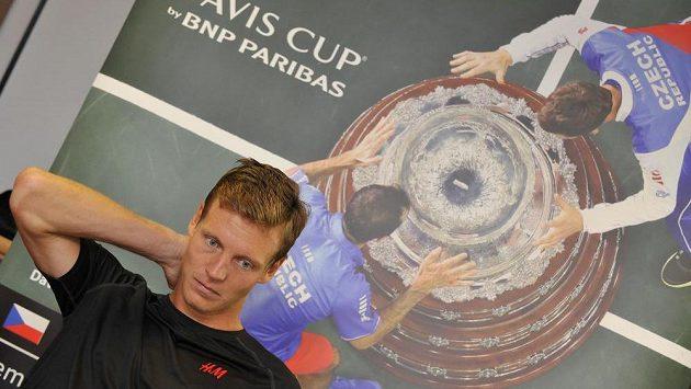 Tenista Tomáš Berdych (na snímku) na tiskové konferenci v Prostějově.
