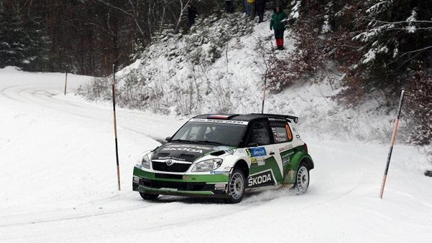 Jan Kopecký se Škodou Fabia S2000 na trati Jänner rallye