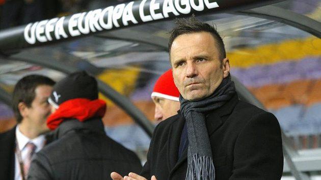Plzeňský kouč Karel Krejčí během utkání Evropské ligy s Dinamem Minsk v Bělorusku.