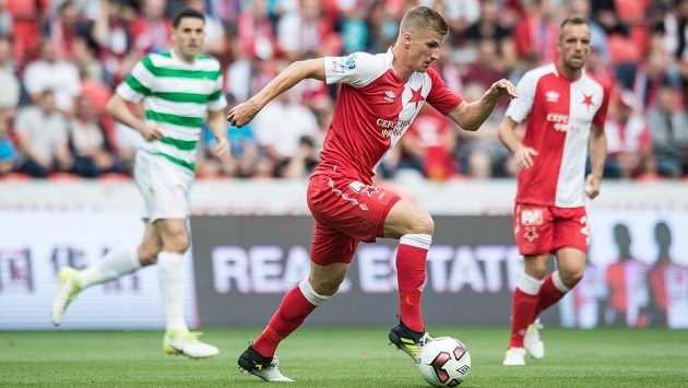 Jakub Jugas v přípravě proti Celtiku Glasgow.