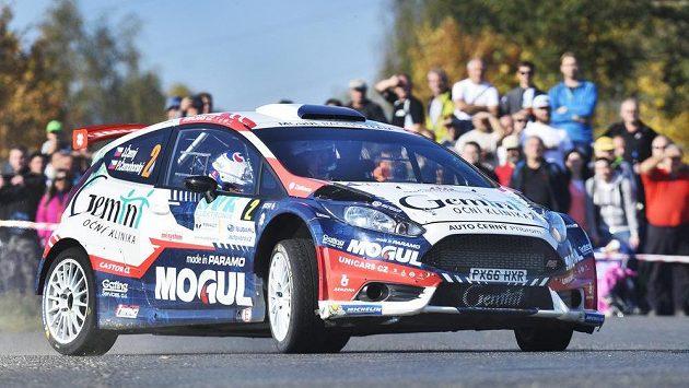 Jan Černý a Petr Černohorský s Fordem Fiesta R5 na Rallye Příbram.