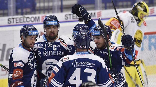Hráči Vítkovic se radují z druhého gólu. Zleva Vladimír Svačina, Lukáš Krenželok, Filip Pyrochta a Dominik Lakatoš. (ilustrační foto)