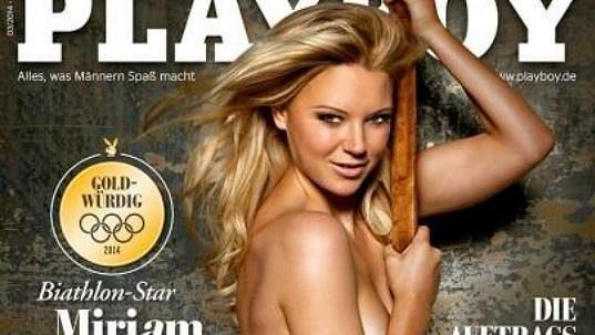 Biatlonistka Miriam, ještě s příjmením Gössnerová, na obálce časopisu Playboy před čtyřmi roky.