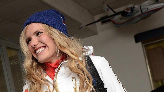 Biatlonistka Gabriela Soukalová před odletem na olympiádu do Soči.