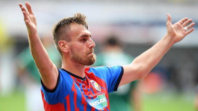 Plzeňský útočník Tomáš Chorý se raduje z úvodní trefy v utkání s Jabloncem.