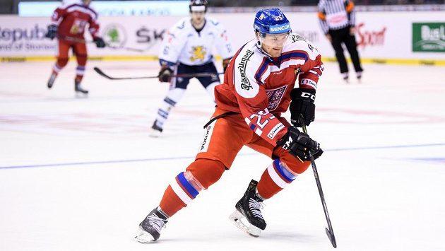 Český útočník Adam Musil dal v utkání s Finskem svůj první reprezentační gól.