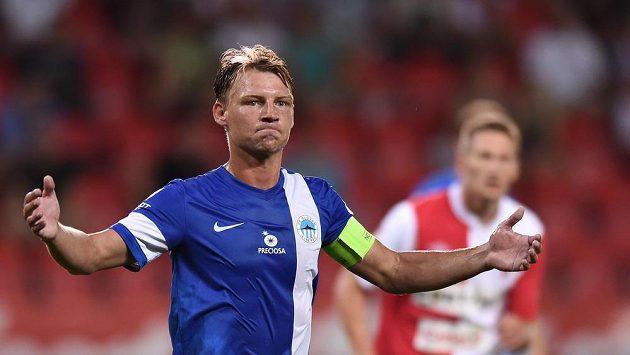 Jan Rajnoch ještě s kapitánskou páskou Liberce v utkání na Slavii.