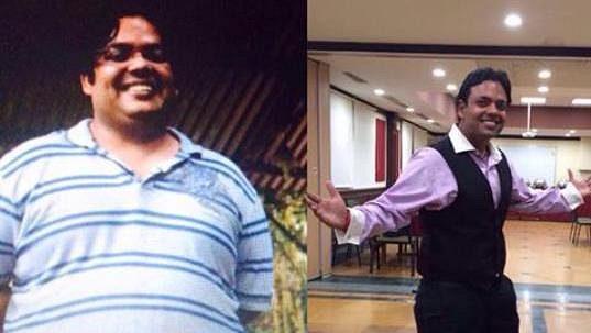 Shekhar Vijayan. Vidíte rozdíl? Je přesně 40 kilo za rok!