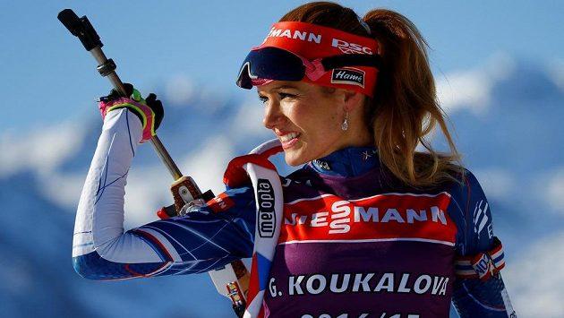 Česká biatlonistka Gabriela Koukalová na střelnici během tréninku na vytrvalostní závod žen na MS v rakouském Hochfilzenu.