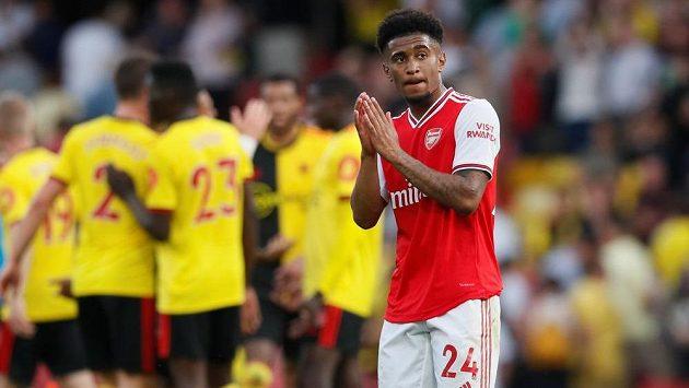 Zklamaný Reiss Nelson z Arsenalu po utkání s Watfordem.