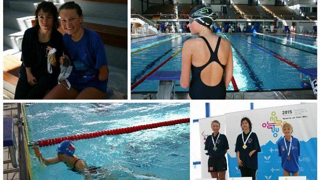 Děvčata s první získanou medailí z Evropských paralympijských her mládeže. Před startem, dohmat a medailový ceremoniál.