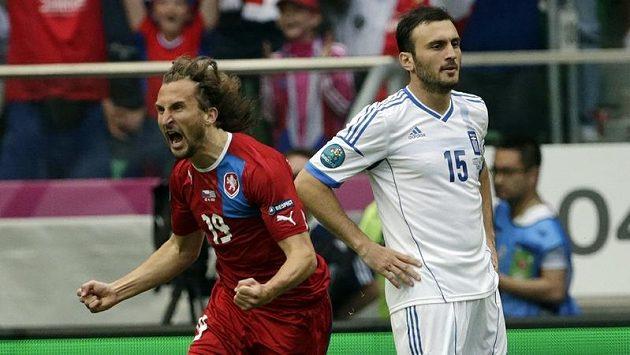 Petr Jiráček se raduje z gólu proti Řecku. Mimochodem čtvrtého nejrychlejšího v historii evropských šampionátů.