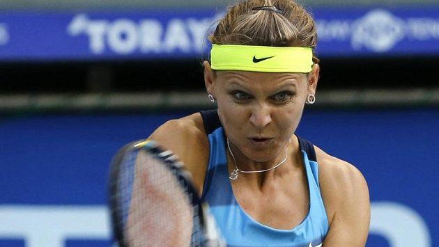 Lucie Šafářová v souboji s Marií Šarapovovou na turnaji v Tokiu.