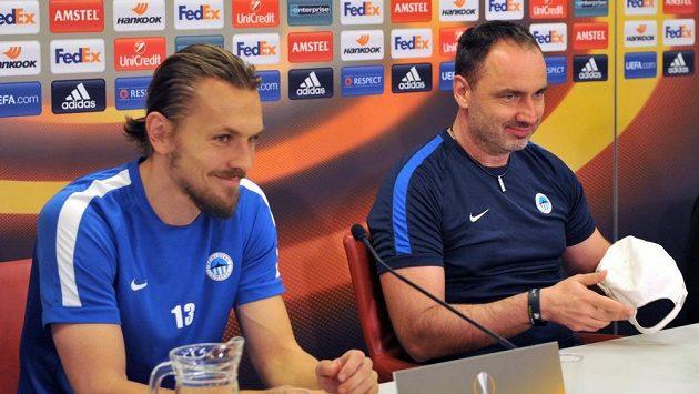 Obránce Liberce Ondřej Švejdík (vlevo) a trenér Jindřich Trpišovský.