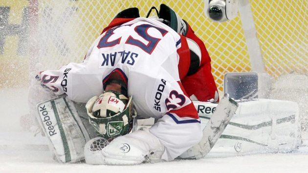Český hokejový brankář Alexander Salák v utkání proti Švýcarsku.