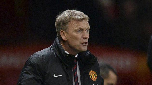 Kouč Manchesteru United David Moyes při utkání proti Evertonu.