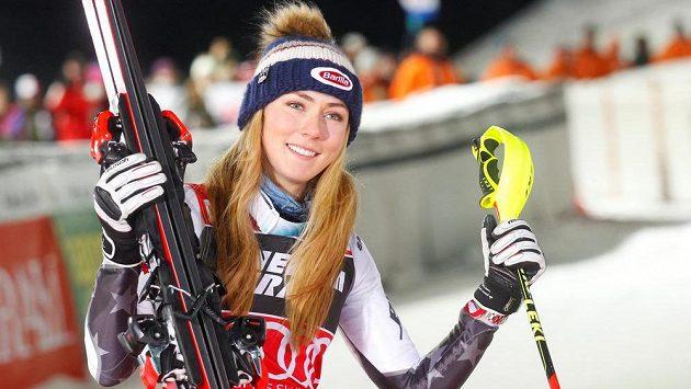 Mikaela Shiffrinová po slalomu v Záhřebu.