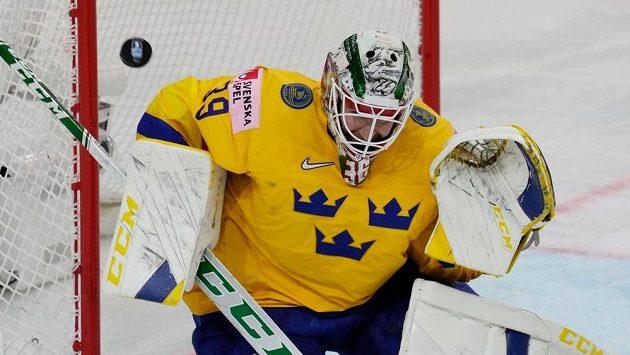 Švédský brankář Adam Reideborn při utkání se Slováky.