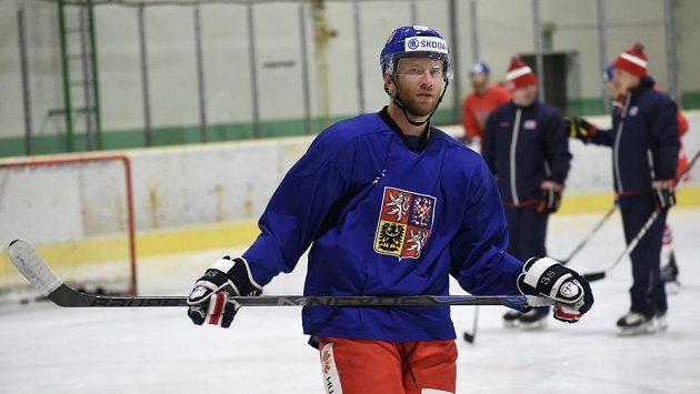 Jiří Novotný během kempu hokejové reprezentace ve Velkých Popovicích.